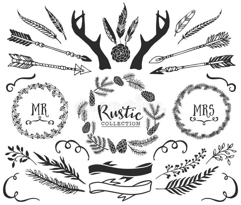 Andouillers, flèches, plumes, rubans et guirlandes tirés par la main illustration de vecteur
