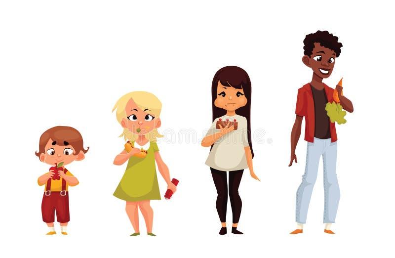 Andra barn äter olik mat royaltyfri illustrationer