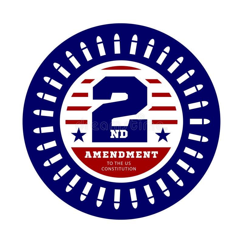Andra rättelse till USA-konstitutionen som tillåter besittning av vapen Vektorillustration på vit stock illustrationer