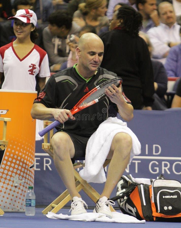 Andre Agassi - legende di tennis sulla corte 2011 immagini stock