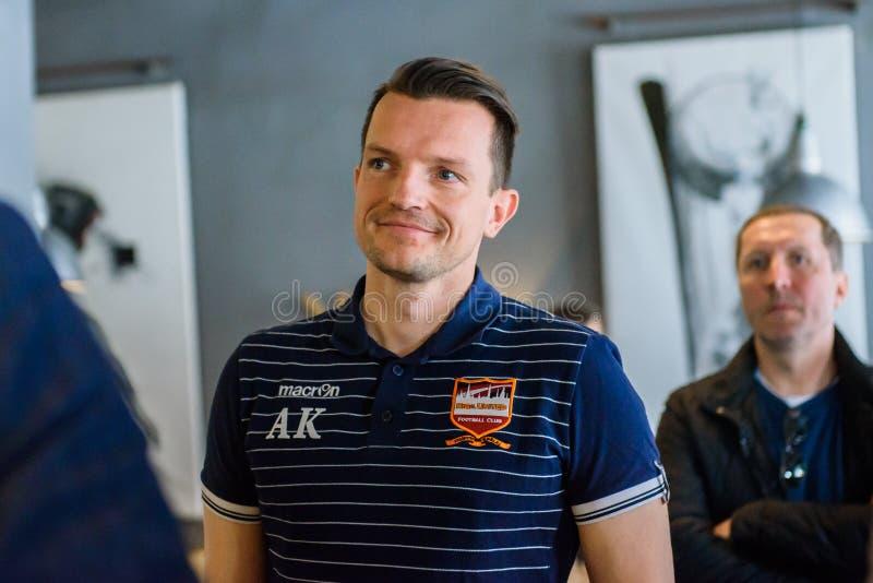 Andre Kliese generalsekreterare av FC Riga förenade royaltyfri bild