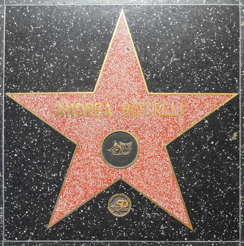 Andrea Bocellis-ster op Hollywood-Gang van Bekendheid stock fotografie