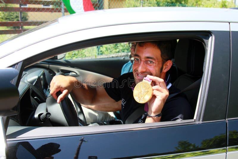 Andrea medal złocisty Olimpijski Molmenti przychodzi tylnego dom zdjęcia stock