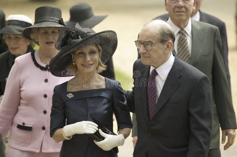 Andrea Mitchell και πρόεδρος Alan Greenspan στοκ φωτογραφίες