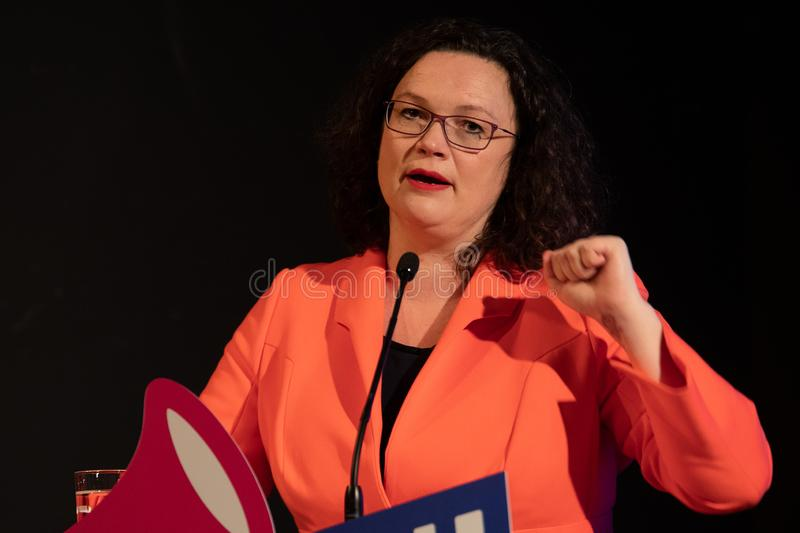 Andrea Nahles speaking at the SPD event for World Women`s day. stock image