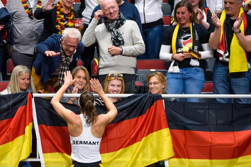 Andrea Petkovic, during FEDCUP BNP Paribas, The World Cup of Tennis World Group Play-off game between team Latvia and team Germany royalty free stock image