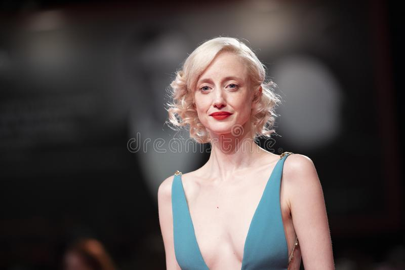 Andrea Riseborough walks the red carpet royalty free stock photography
