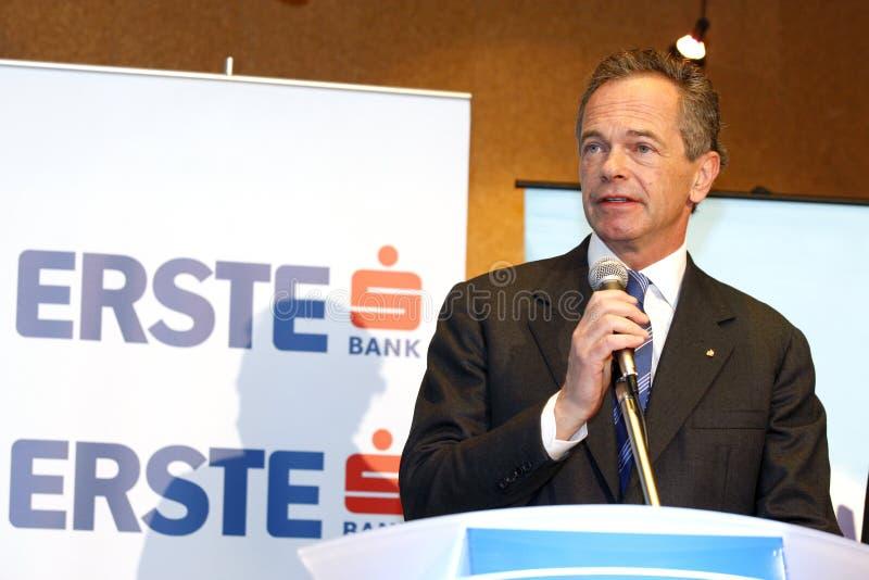 Andreas Treichl - banco AG do grupo de Erste foto de stock