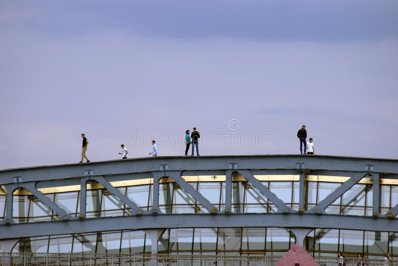 Andreevsky pedestrians bridge in Moscow. Blue sky background. royalty free stock photography