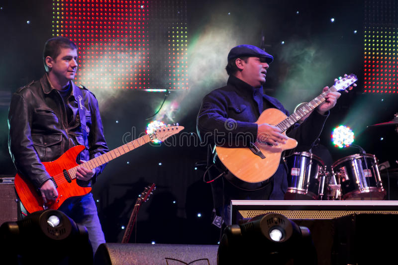 Andrei Vlad (guitar). From Mihai Mărgineanu (singer) Band at New Years Eve 2014 concert organized by District 3, Bucharest stock photography