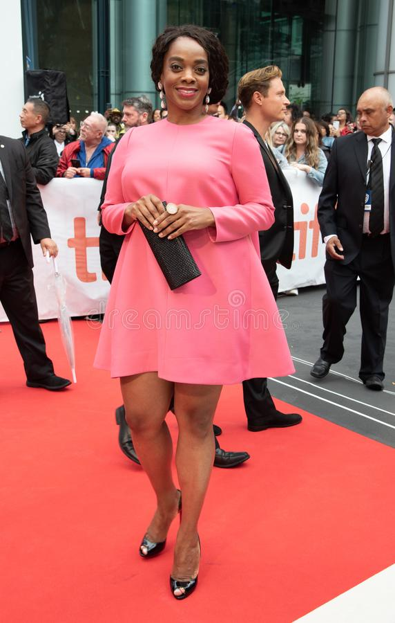 Andrene Ward-Hammond at premiere of Just Mercy at toronto international film festival 2019. Andrene Ward-Hammond is an American actress on the red carpet at stock photos
