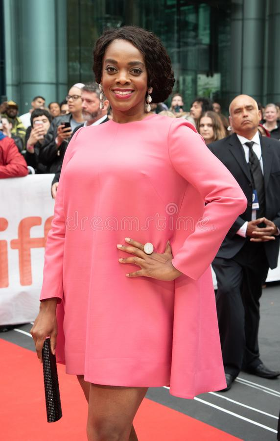 Andrene Ward-Hammond at premiere of Just Mercy at toronto international film festival 2019. Andrene Ward-Hammond is an American actress on the red carpet at stock photography