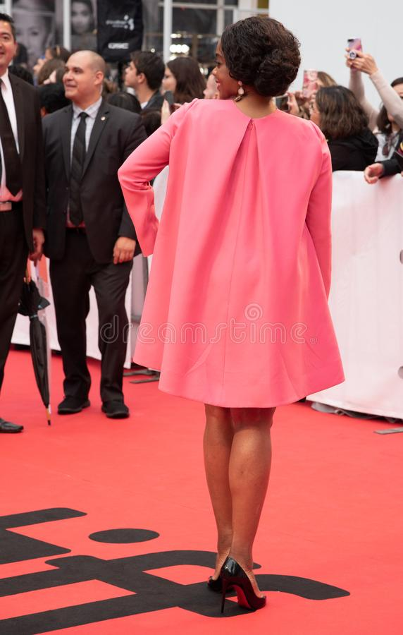 Andrene Ward-Hammond at premiere of Just Mercy at toronto international film festival 2019. Andrene Ward-Hammond is an American actress on the red carpet at stock image