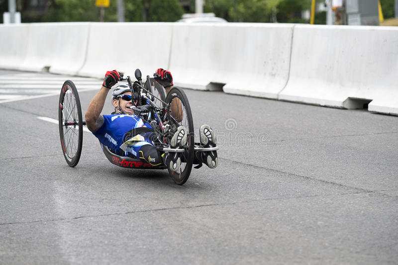 Andres Biga competes at the ParaPan Am Games - Toronto August 8, 2015. Andres Biga of Argentina competes in the Mens Road Race H3-5 on August 8, 2015 during the stock photography