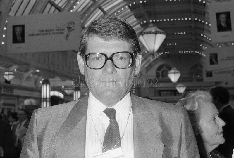 Andrew Hunter. Conservative party Member of Parliament for Basingstoke, visits the party conference in Blackpool on October 10, 1989 royalty free stock photography