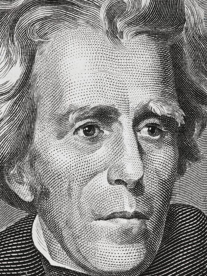 Andrew Jackson face on twenty dollar bill close up macro, 20 usd, united states money closeup stock photography