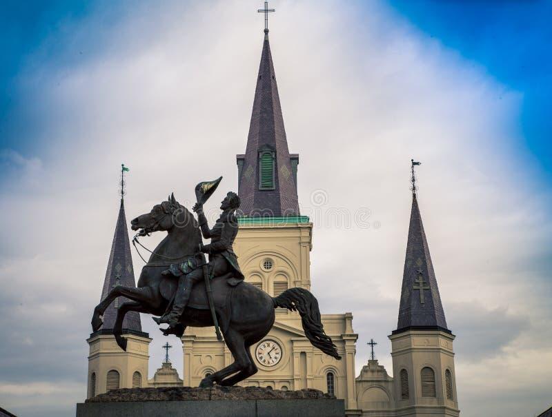 Andrew Jackson Monument em Nova Orleães foto de stock