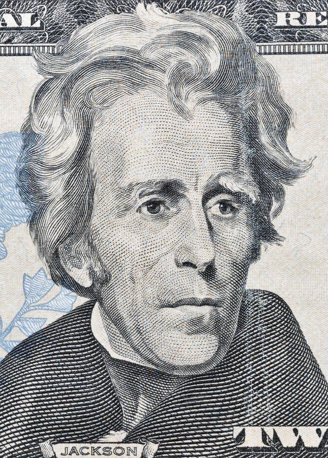 Andrew Jackson-Porträt auf zwanzig US-Dollar Banknotenmakro lizenzfreie stockfotos