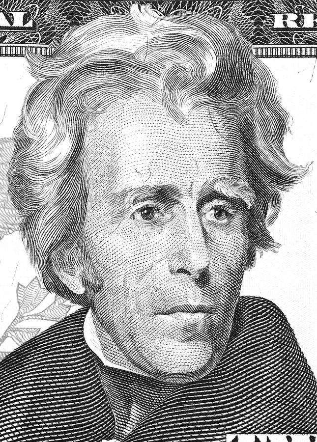 Andrew Jackson portrait from us 20 dollars. stock images