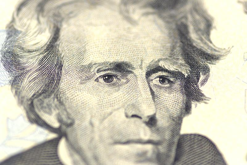 Andrew Jackson portret od my 20 dolarów fotografia stock