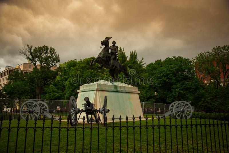Andrew Jackson Statue in Lafayette Square in Washington DC stock photos