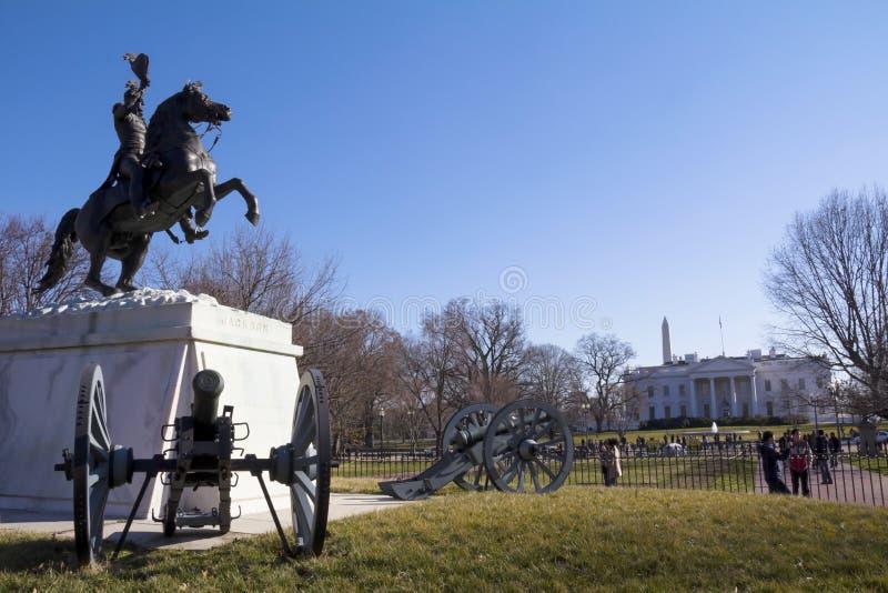 Andrew Jackson Statue Presidents parkerar den Lafayette fyrkanten royaltyfri foto