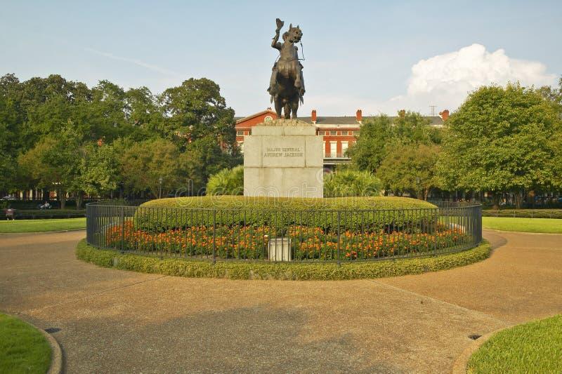 Andrew Jackson Statue y Jackson Square en New Orleans, Luisiana imagen de archivo