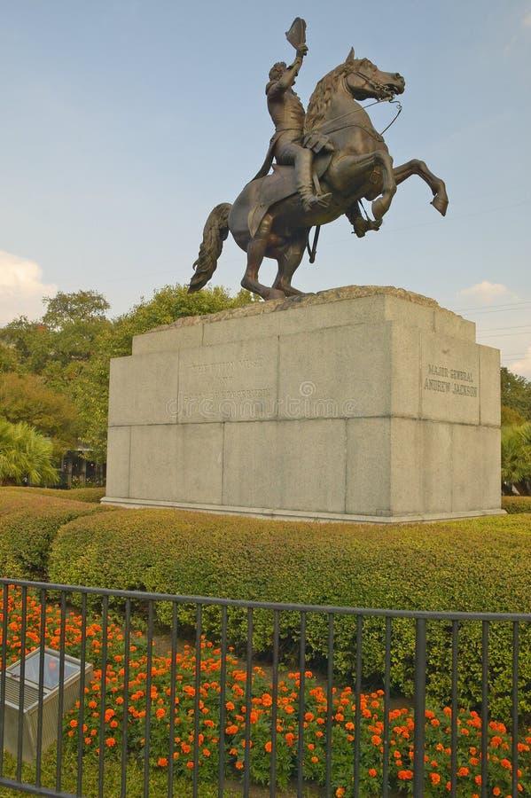 Andrew Jackson Statue y Jackson Square en New Orleans, Luisiana fotos de archivo libres de regalías