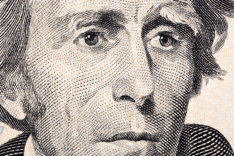 Andrew Jackson um retrato do close-up imagem de stock royalty free