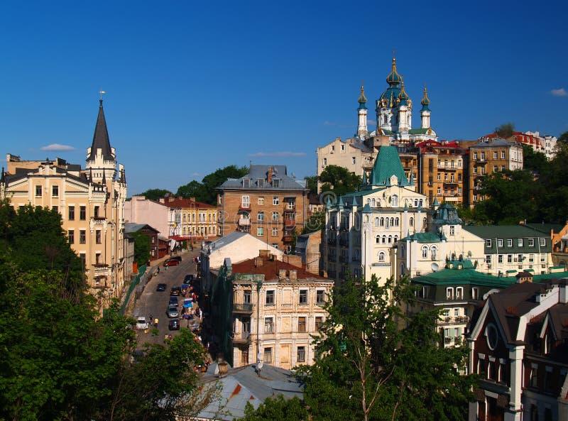Old Kiev, Ukraine. St. Andrew`s Church and Andrew`s descent Kiev, Ukraine stock photo