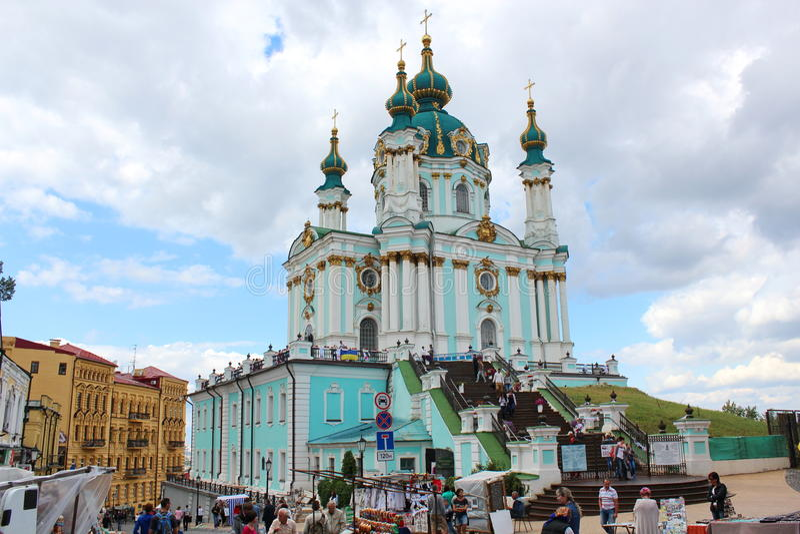 Andrew `s Kirche, Kiew, Ukraine stockfotos