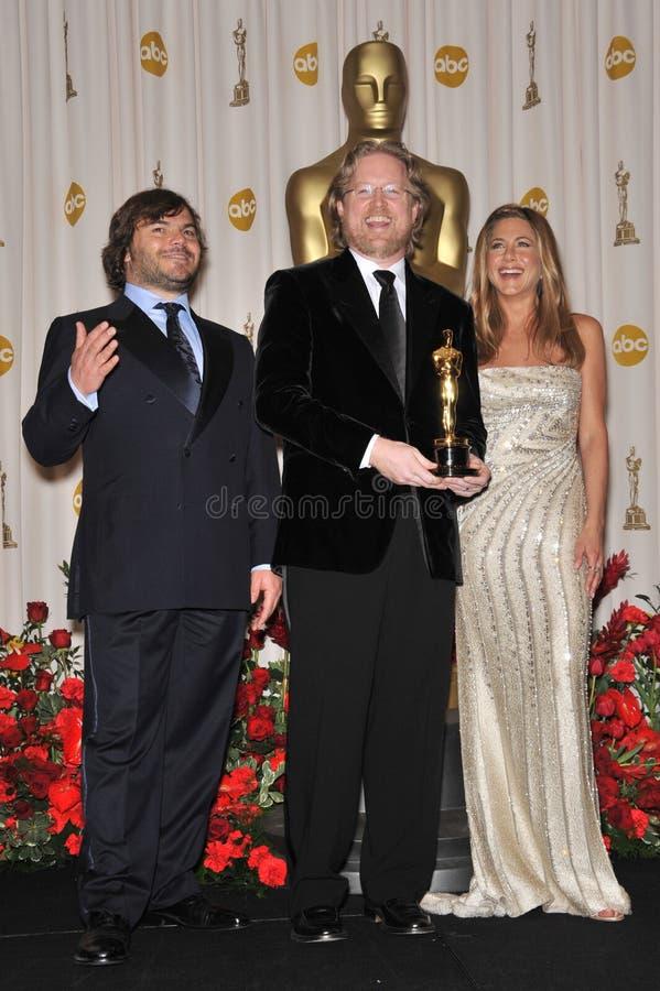 Andrew Stanton, Jack Black, Jennifer Aniston images stock