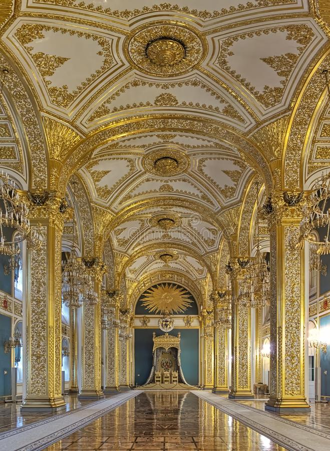 Andreyevsky Hall of the Grand Kremlin Palace in Moscow, Russia. The Hall of the Order of St. Andrew in the Grand Kremlin Palace in Moscow, Russia stock photography