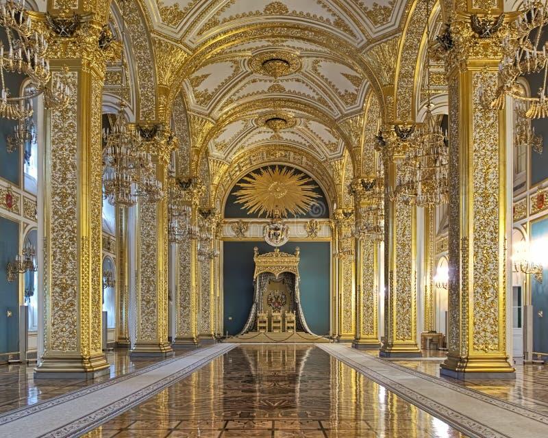 Andreyevskyzaal van het Grote Paleis van het Kremlin in Moskou, Rusland royalty-vrije stock fotografie