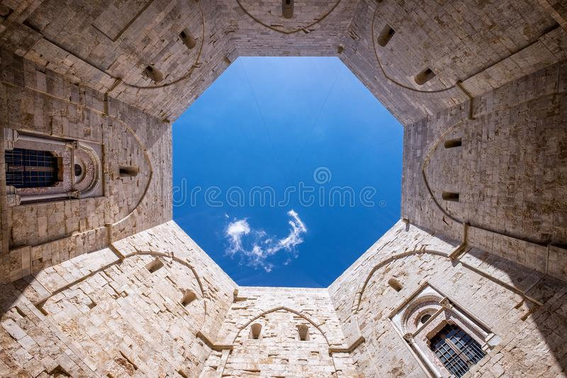 ANDRIA- Castel del Monte, the famous castle built in an octagonal shape by the Holy Roman Emperor Frederick II . Italy. The mysterious octagonal plan of the royalty free stock photography