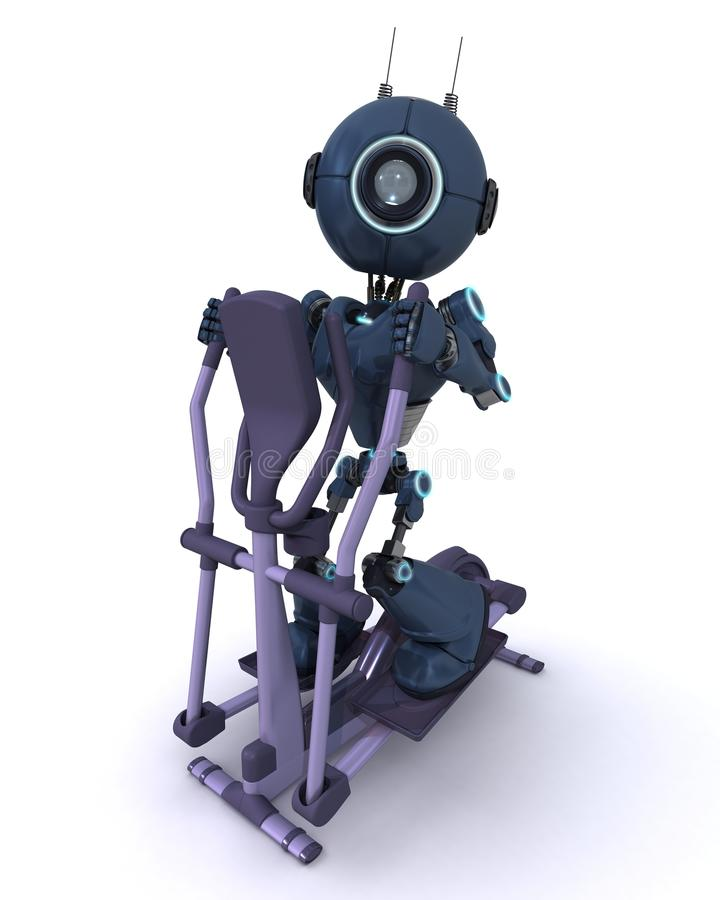 Andriod at the gym on a cross trainer stock illustration