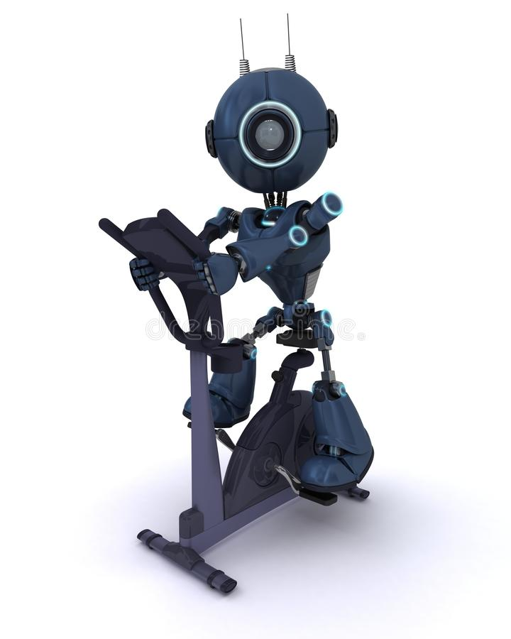 Andriod at the gym on an exercise bike royalty free illustration