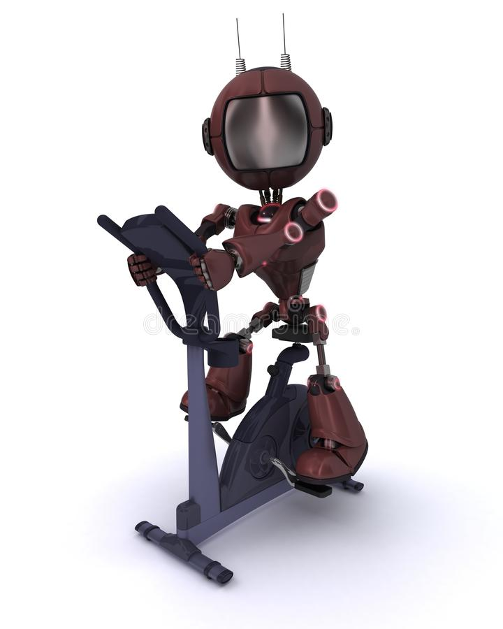 Andriod at the gym on an exercise bike vector illustration