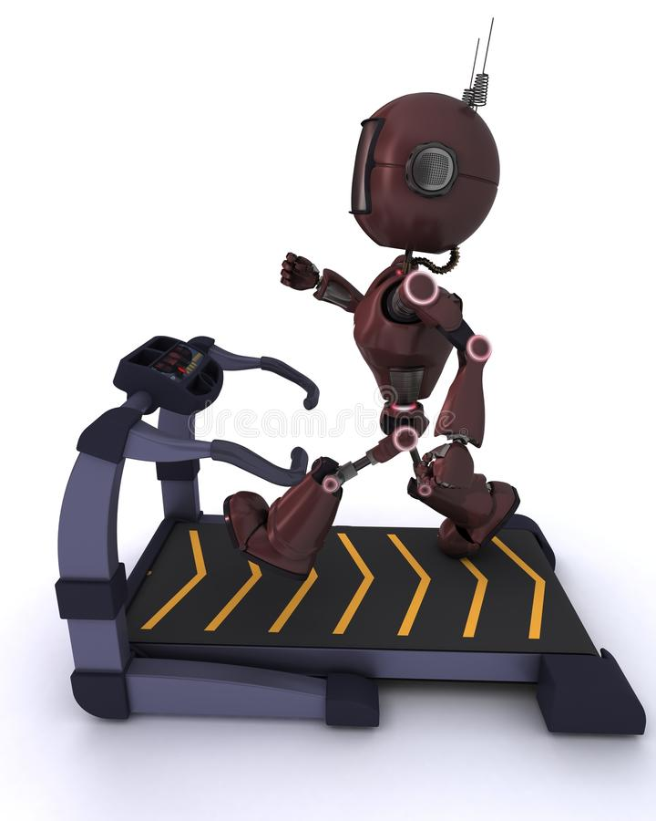 Andriod at the gym running on a treadmill stock illustration