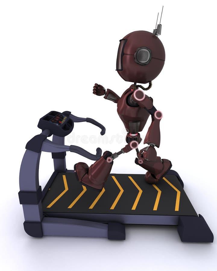 Andriod no gym que corre em uma escada rolante ilustração stock
