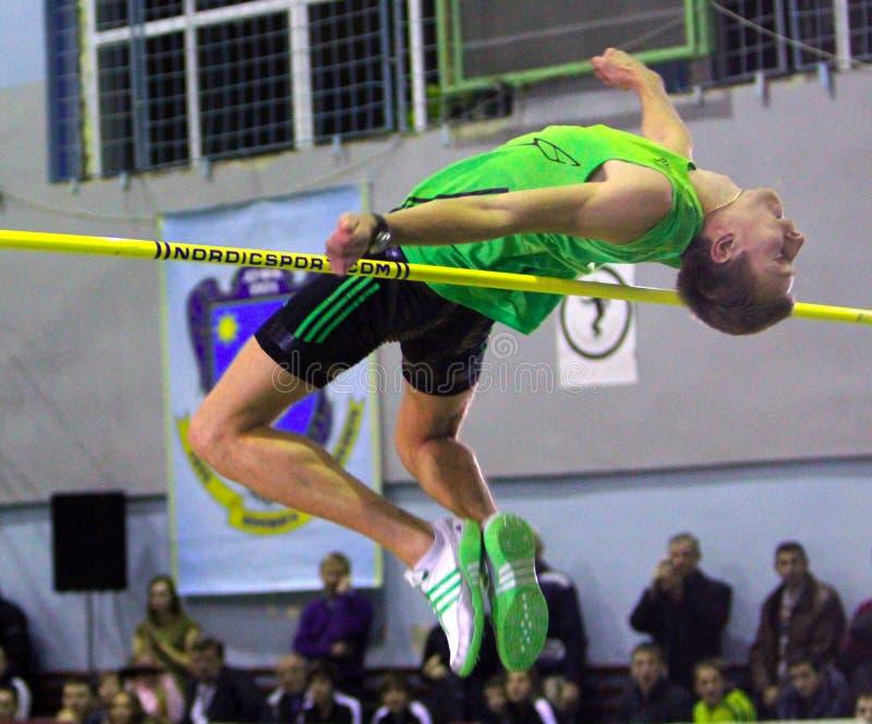 Andriy Protsenko on high jump stock photos