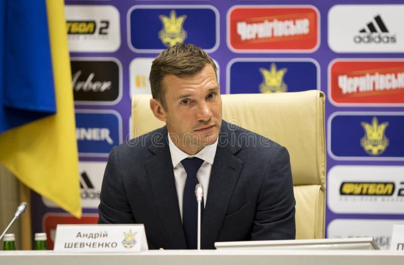 Andriy Shevchenko, entrenador del equipo de fútbol nacional de Ucrania imagen de archivo libre de regalías