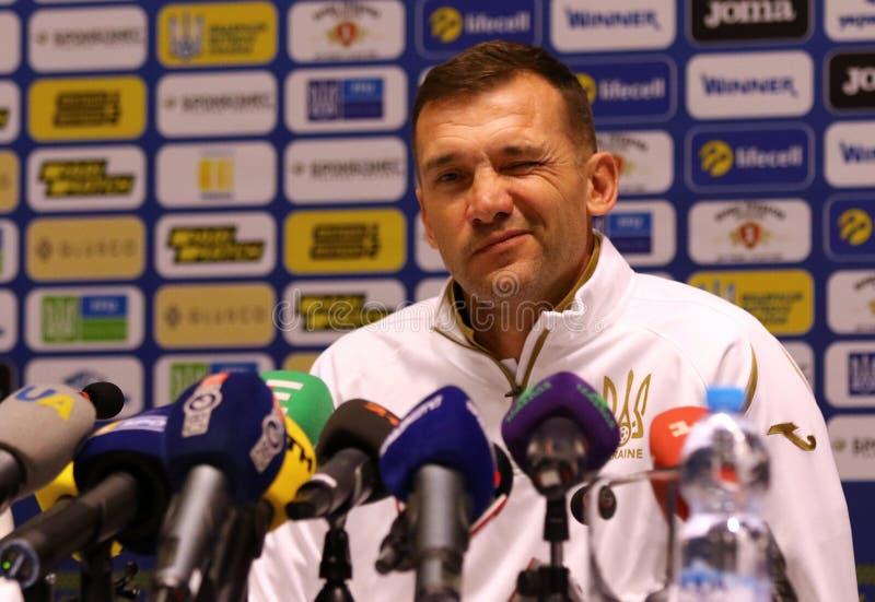 Andriy Shevchenko-Pressekonferenz in Kyiv, Ukraine lizenzfreie stockfotografie