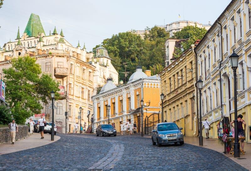 Andriyivskyy-Abfall, Fußgängerstraße Ukraine, Kyiv, Podil Ed lizenzfreie stockbilder