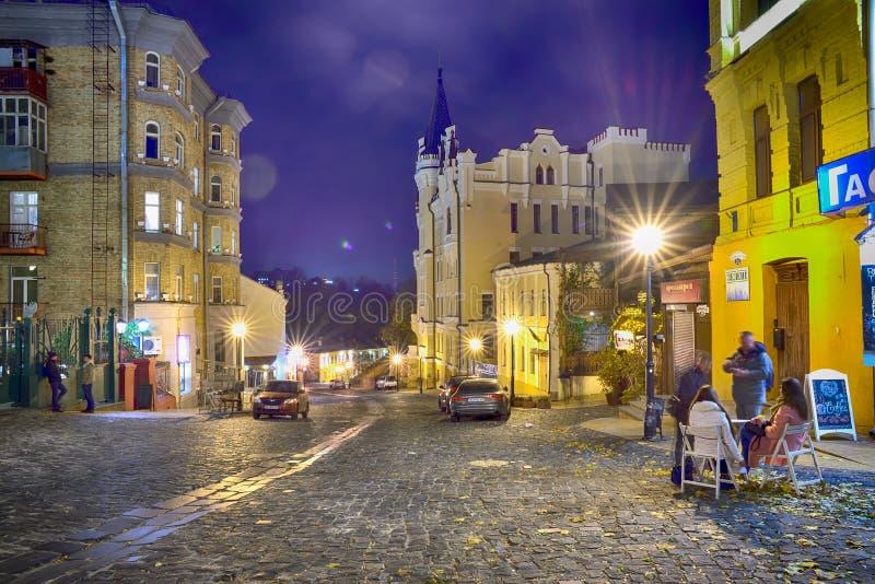 Andriyivskyy nedstigning i Kyiv arkivbilder