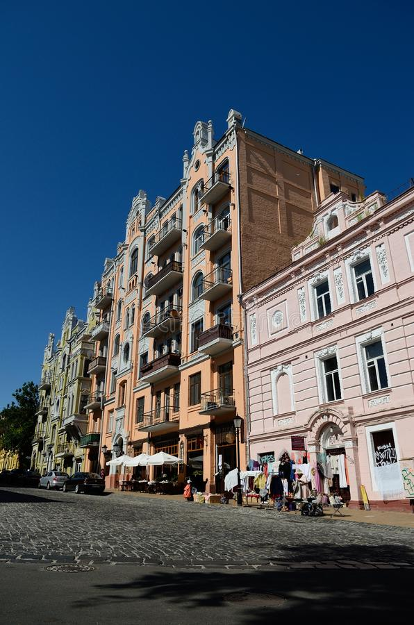 Andriyivskyy nedstigning, Kiev fotografering för bildbyråer