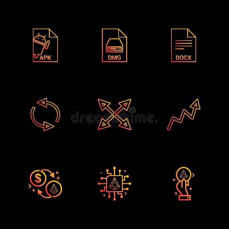 Androïde Apk, dmg, appel, docx, docuument, het terugstellen, pijlen, stock illustratie