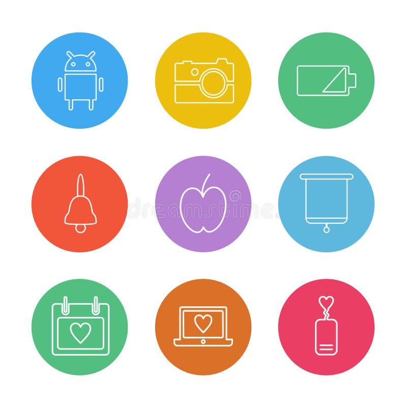 androïde, camera, batterij, klok, appel, raad, celender, l vector illustratie