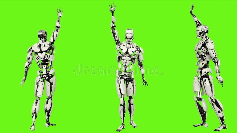 Androïde de robot golft een groet Realistisch voorzag motie op groene het schermachtergrond van een lus het 3d teruggeven stock illustratie