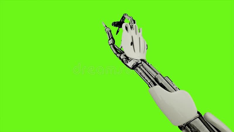 Androïde de robot is persen de knoop Realistisch voorzag motie op groene het schermachtergrond van een lus het 3d teruggeven royalty-vrije illustratie